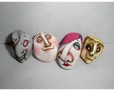 LOOKIE LOU Stone Head Outsider Folk Art Painted by JoanDougArt