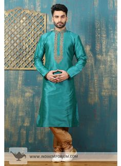 Impressive Sea Green Dupion & Art Silk Churidar Embroidered Kurta Pyjama