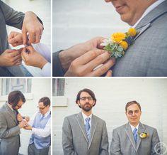 groom getting ready, yellow boutineers