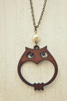 wooden owl necklace. by bellehibou on Etsy
