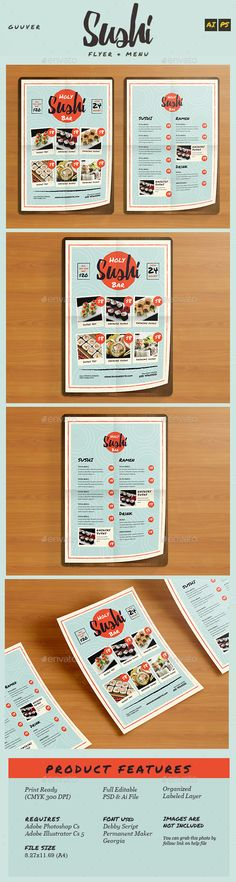 Sushi Bar Restaurant Menu / Flyer Template PSD, Vector AI #design Download: http://graphicriver.net/item/sushi-bar-restaurant-menuflyer/14467529?ref=ksioks