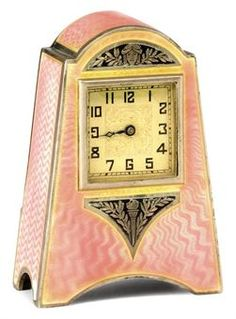 Swiss Miniature Art Deco silver & pink guilloche enamel carriage clock ,