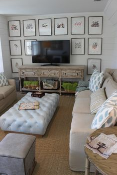 design indulgence: COASTAL LIVING SHOW HOUSE Big ottoman instead of coffee table for kid-friendly family room?