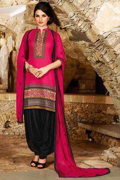 USD 31.68 Deep Pink Cotton Embroidery Punjabi Suit 44860