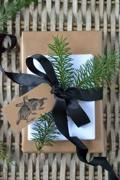 nice use of stamps and contrasting black/white #gift #wrapping #NapaValleyHoliday