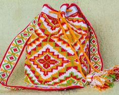 Crocheted Multi-Colored wayuu mochila bag - wayuu tecnique crochet- tapestry…