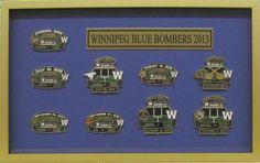 Winnipeg Blue Bombers Pin Set - Object fit with name plate In: Custom Framing - Custom Framing Examples Winnipeg Blue Bombers, Custom Framing, Picture Frames, Pictures, Portrait Frames, Photos, Picture Frame, Frames, Resim
