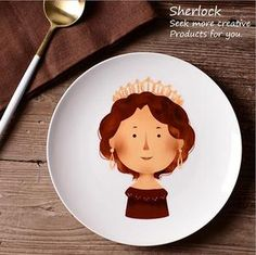 Ceramic Dinner Flat Plate Western Dinnerware Cartoon Style  Steak Plates Porcelain Dishes 1 Piece Tableware