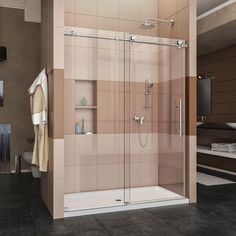 DreamLine Enigma-X 56 to 60 in. x 76 in. Frameless Sliding Shower Door in Brushed Stainless - The Home Depot Enigma-X 56 in. to 60 in. x 76 in. Frameless Sliding Shower Door in Brushed Stainless Steel Frameless Sliding Shower Doors, Glass Shower Doors, Sliding Doors, Glass Doors, Barn Doors, Entry Doors, Shower Enclosure, Shower Tub, Shower Base