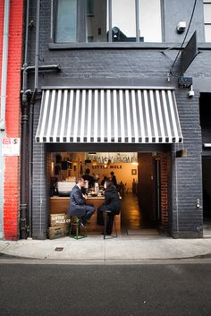 black & white awning for store front | Little Mule Co. Melbourne  by nicoalaryjr, via Flickr