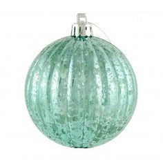 80MM Round Vertical Stripe Metallic Ball Ornament: Antique Look Turquoise