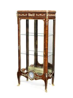 A French late 19th/early 20th century ormolu jasperware-mounted vitrine,