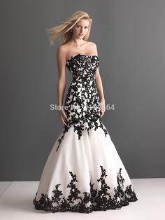 >> Click to Buy << White and Black Organza Mermaid Wedding Dresses Appliques Sweetheart Bridal Gown 2015 Vestido De Festa Longo Low Back WH564 #Affiliate