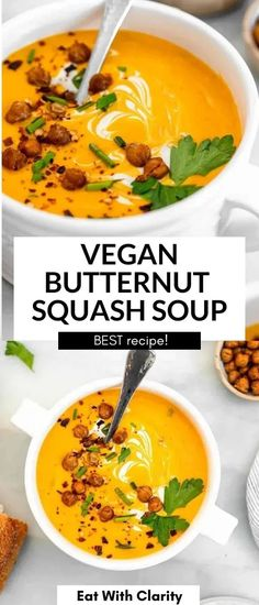 This vegan butternut squash soup is the perfect cozy fall recipe. It's healthy, easy to make and made with perfectly roasted butternut squash. Finished with crispy chickpeas! Vegan Butternut Squash Soup, Vegan Tomato Soup, Vegan Soups, Meal Recipes, Dairy Free Recipes, Crispy Chickpeas, Vegan Roast, 30 Minute Meals, Stew