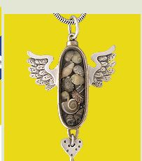 Close-Up detail of Thomas Mann pendant on his Oval Wingbox necklace