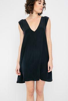 Marlena Dress in Silk Crepe Navy Silk Crepe