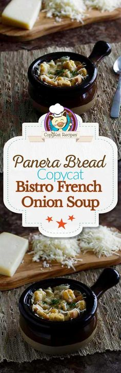 Make your own bowl of Panera Bread French Onion Soup with this copycat recipe.  This recipe is very simple to make.  Step by Step instructions are included.