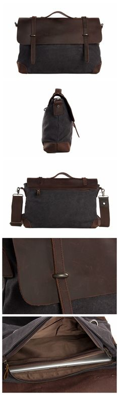 "Canvas Leather Briefcase Messenger Bag Shoulder Bag Laptop Bag 6896 Model Number: 6896 Dimensions: 15.7""L x 4.7""W x 11.8""H / 40cm(L) x 12cm(W) x 30cm(H) Weight: 3.3lb / 1.5kg Hardware: Brass Hardware"