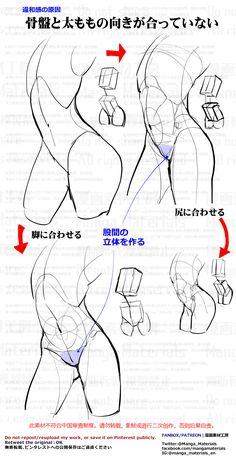 how to draw, ass, leg / 個人メモ:上半身と下半身のズレ - pixiv Body Drawing Tutorial, Manga Drawing Tutorials, Sketches Tutorial, Body Reference Drawing, Anatomy Reference, Art Reference Poses, Body Base Drawing, Drawing Body Proportions, Drawing Female Body
