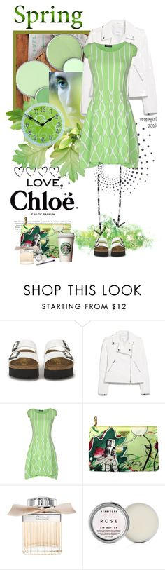 """Love, Chloe"" by vespagirl ❤ liked on Polyvore featuring beauty, Chloé, Birkenstock, MANGO, Prada, Pentel, Spring, GREEN, chloe and springscent"