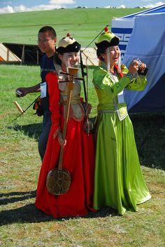 Mongolian women in traditional costumes, Naadaam festival, Ulan Bataar