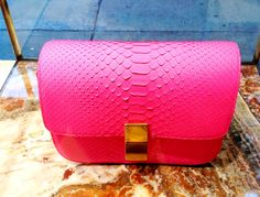 Classic Box Bag in Fluo Pink Python