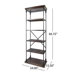 Gracie Oaks Traxler Industrial 5 Shelf Firewood Etagere Bookcase & Reviews | Wayfair