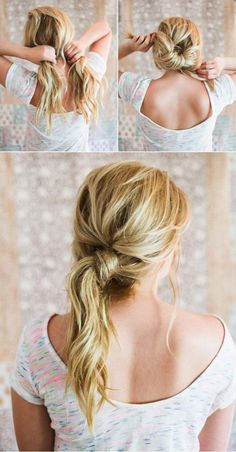 The Messy Knot Ponytail | Easy and Cute Hairstyles For Long Hair and For Medium Hair by Makeup Tutorials http://makeuptutorials.com/easy-hairstyles-for-work/
