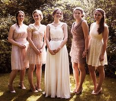 Blush coloured bridesmaids for an Oxford Univerity wedding. Bride wears Jenny Packham dress and Emmy Shoes. Photography by www.jngourley.com
