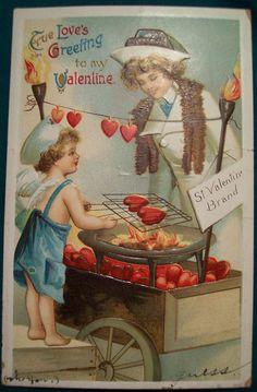 Valentine Postcard Woman Watching a Cherub Roast Hearts on a My Funny Valentine, Valentine Cupid, Valentine Images, Valentines Greetings, Vintage Valentine Cards, Vintage Greeting Cards, Love Valentines, Vintage Holiday, Valentine Day Cards