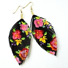 lovesexton | Hand Painted Faux Leather Feather Earrings 14k Gold