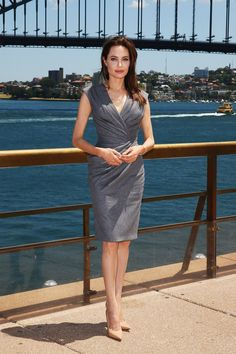 For the [i]Unbroken[/i] press conference in Sydney she wore a custom-made Atelier Versace dress.