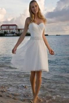 White beach wedding dress with strapless sweetheart neckline hits above the knees. Description from starbridalapparel.com. I searched for this on bing.com/images