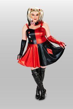 Harlequin Adult Plus Costume Dress with Wig Plus Halloween Costumes, Harlequin Costume, Great Costume Ideas, Costume Dress, Wigs, Goth, Womens Fashion, Black White, Dresses