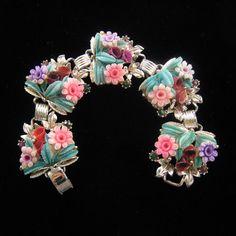 SOLD Celluloid Flower Link Bracelet