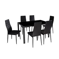IDS HOME 7 Piece Modern Glass Dining Table Sets, Table and Chairs for 6, Soft Faux Leather Chair, Ivory Frame, Rectangular