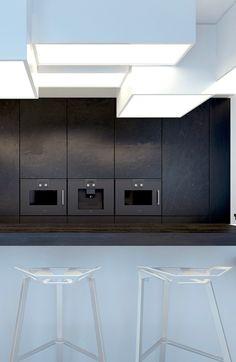 KUOO Architects | Bielsko-Biala | Sfera Interior Garden, Interior Exterior, Kitchen Interior, Interior Architecture, Interior Design, Bright Kitchens, Black Kitchens, Kitchen Images, Kitchen Designs