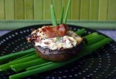 Fetával töltött gombafejek   NOSALTY – receptek képekkel Vegas, Salty Foods, Vegetable Recipes, Baked Potato, Bacon, Muffin, Pudding, Healthy Recipes, Vegetables