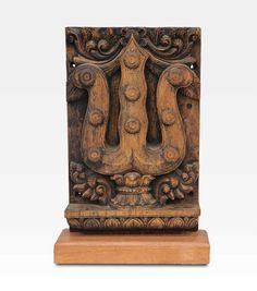 Altorilievo in teak, tridente di Shiva India