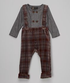Look at this Gray Herringbone Top & Plaid Overalls - Infant & Toddler on #zulily today!