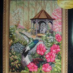Cross Stitch Kit Garden Hummingbird Thomas Wood Blending Filament Ivory Fabric #Bucilla