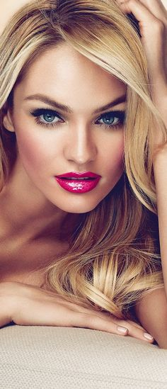 Candice Swanepoel...love her makeup and hair! that lipcolor is amazing!