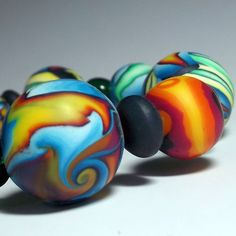 Bangle bead bracelet polymer clay  Sunsets Handmade by ClayGauged, $36.00