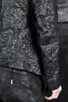 Boris Bidjan Saberi – Double Zip Up Acid Sprayed Leather Jacket