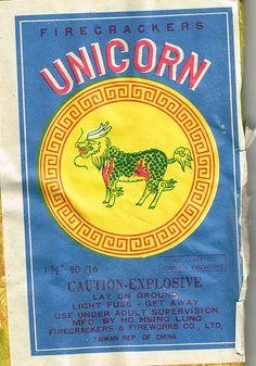#Unicorn Brand, Vintage Chinese Firecracker Packaging