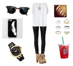 """""""simple outfit for me"""" by pu11girl ❤ liked on Polyvore featuring Alexander Wang, American Vintage, TURNOVER, Ray-Ban, Versace and Topshop"""