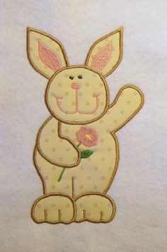 Cute Easter Bunny with Flower by LMTEmbroideryDesigns on Etsy Applique Embroidery Designs, Flower Applique, Machine Embroidery, Cute Easter Bunny, Patches, Sewing, Creative, Flowers, Fabric