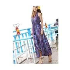 Sexy Peacock Feather Printed Halter Long Dress Purple found on Polyvore