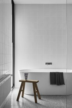 Modern Timber-Clad Home Inspired by Traditional Barn: Two Pavilions 13 White Bathroom Tiles, Modern Bathroom, Unit Bathroom, White Bathrooms, Vintage Modern, Clad Home, The Design Files, Home Decor Bedroom, Bathtub