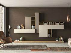Sectional storage wall SLIM 104 by Dall'Agnese design Imago Design, Massimo Rosa